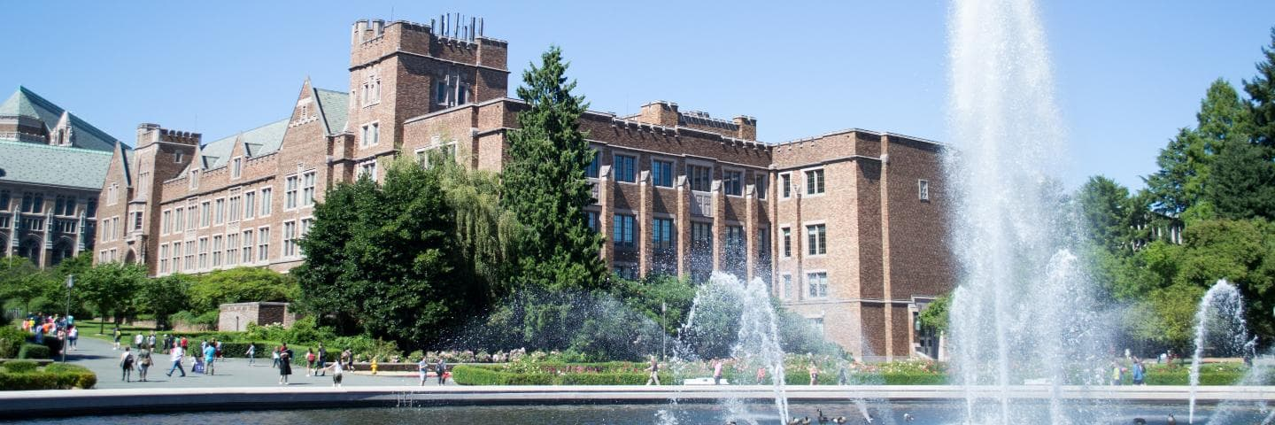 University of Washington iSchool campus with fountain